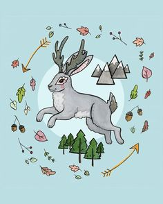 Jumping Jackalope Jackalope Illustration by DanielleVGreen