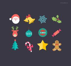 christmas flat icon set #freebie #christmas