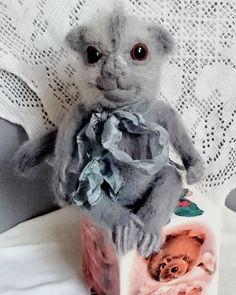 """Купить Валяная игрушка обезьяна игрунка """"Тишка"""" - подарок, игрушка ручной работы, валяная игрушка"""