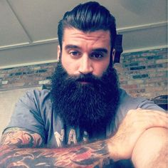 Gregory Vizina - full thick bushy beautiful black beard beards bearded man men tattoos tattooed handsome #beardsforever
