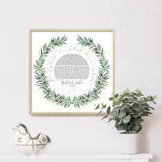 Wreath Watercolor, Watercolor Design, Jewish Art, Olive Tree, Fine Art Paper, Giclee Print, Wreaths, Art Prints, Artist