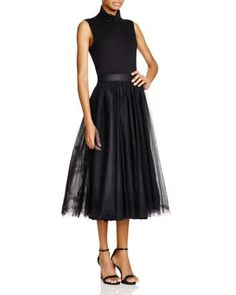 Bailey 44 Turtleneck Tulle Skirt Midi Dress | Bloomingdale's