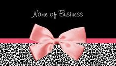 Trendy Black And White Leopard Print Pink Ribbon Business Card - $21.95