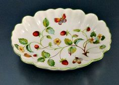 James Kent England Old Foley Strawberry with Butterfly Oval Fluted Small Bowl | eBay