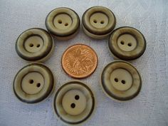 Craft buttons 7 matching plastic  wood like by ButtonsAndTreasures