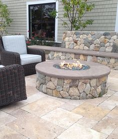 Outdoor Living Gallery – Backyard Ideas - Outdoor Diy - Outdoor Living Gallery Backyard Ideas New England Round Stone Fire Pit The post Outdoor Living G - Diy Fire Pit, Fire Pit Backyard, Backyard Patio, Backyard Landscaping, Backyard Ideas, Gas Outdoor Fire Pit, Paver Fire Pit, Backyard Pavilion, Backyard Retreat