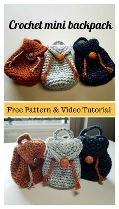 The Mini Backpack Keychain Free Crochet Pattern is very easy to make. It is fashionable and practical. Make one today with the free step by step video. Mini Backpack Keychain Free Crochet Pattern and Video Tutorial Crochet Diy, Crochet Gifts, Crochet Dolls, Crochet Clothes, Crochet Storage, Crochet Food, Knitted Dolls, Plush Dolls, Crochet Handbags