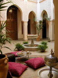 Insider's Guide to Marrakech Riad Kniza in Marrakech, an wonder with three open courtyards and breakfast served on a rooftop terrace.Riad Kniza in Marrakech, an wonder with three open courtyards and breakfast served on a rooftop terrace. Design Marocain, Style Marocain, Moroccan Design, Moroccan Style, Indian Style, Indian Interior Design, Arab Style, Bohemian Interior, African Style