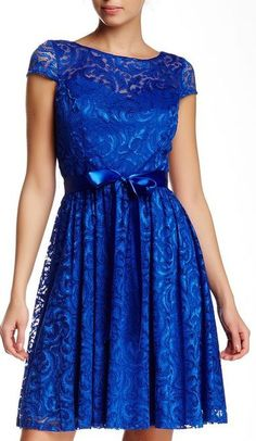 LOOOVE THIS!! Beautiful blue and lace! - Marina | Ribbon Belt Lace Cocktail Dress | Sponsored by Nordstrom Rack.