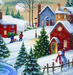 A little Christmas village Christmas Scenes, Winter Christmas, Christmas Home, Christmas Crafts, Merry Christmas, Christmas Decorations, Christmas Ornaments, Xmas, Christmas Jigsaw Puzzles