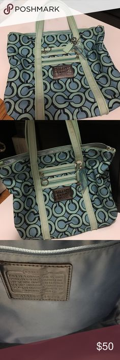 Limited Edition Coach Poppy bag Blue Coach print very roomy inside nice weekend bag Bags Totes