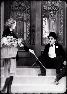 """Charlie Chaplin and Virginia Cherrill, an out take from """"City Lights""""."""