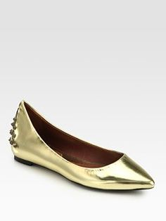 34118415e5 McQ Alexander McQueen - Studded Metallic Leather Ballet Flats
