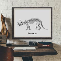 Triceratops Vintage Dinosaur Illustration