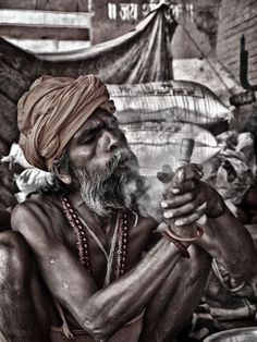 "ARTFINDER: Sadhu Smoking (Medium Size) by Henry Clayton - ""Sadhu Smoking""  A portrait capturing an Indian holy man (Sadhu) smoking ganja through a chillum, the smoking of marhuana is supposed to bring the Sadhus c..."