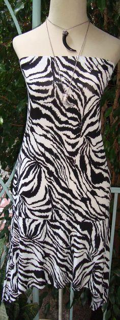 Ula Strapless Dress  In Black and White Zebra Print  Info: annac555@aol.com