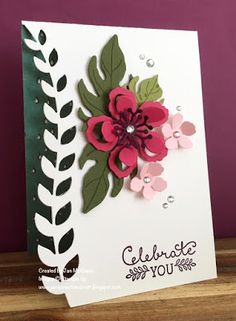 Birthday card using Stamp Up's Botanical Blooms and Suite Sayings created by Jan McQueen. More info @ www.janscreativecorner.blogspot.com