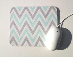 Mouse Pad / Chevron Aqua, Gray, And White / Home Office Decor / Simpatico  Collection / Cloud 9 Organic. $12.00, Via Etsy.