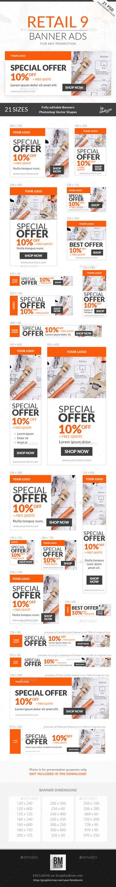 Retail Web Banner Ads Template PSD #design Download: http://graphicriver.net/item/retail-9-banner-ads/13590561?ref=ksioks