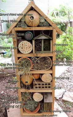 Make a Haven for the Solitary Bees and the Beneficial Insects, it is beautiful in the garden. - Make a Haven for the Solitary Bees and the Beneficial Insects, it is beautiful i. Bug Hotel, Garden Crafts, Garden Projects, Garden Ideas, Mason Bees, Bee House, Garden Insects, Beneficial Insects, Save The Bees