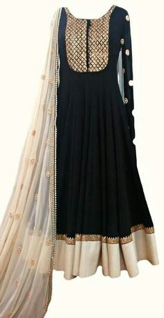 Black and dull silver anarkali