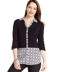 Style&co. High-Low Colorblocked Top
