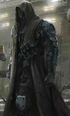a little less armored and this would make a good Vigilante Sci-Fi Dark Fantasy Art, Fantasy Armor, Final Fantasy, Fantasy Character Design, Character Design Inspiration, Character Art, Character Concept, Robot Concept Art, Armor Concept