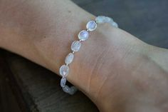 Rainbow Moonstone Bracelet with Rose Gold Filled by MoonLabJewelry