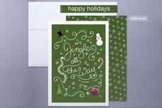 Minted.com - lehan paper design - Jingling Script Non-Photo Christmas Holiday Card