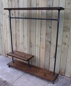 This item is unavailable Clothing rack garment rack store fixture. This item is unavailable Clothing rack garment rack store fixture clothes rack Pipe Furniture, Pallet Furniture, Industrial Furniture, Industrial Pipe, Vintage Industrial, Furniture Ideas, Industrial Closet, Industrial Style, Wood Clothing Rack