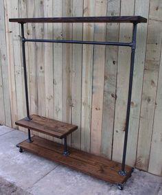 reclaimed wood clothing rack garment rack by Vintagesteelandwood
