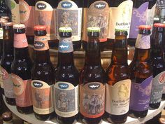 A colorful array of Dogfish beer bottles
