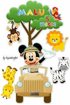 Mickey Baby Showers, Baby Mickey, Disney Mickey, Disney Clipart, Cute Clipart, Safari Party, Safari Theme, Mickey Mouse Dress, Minnie Mouse