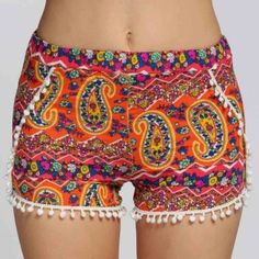 Pantalones Cortos Verano De Las Mujeres Ocasional Elástico De La Cintura De La Borla De Impresión Beach