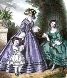 La Modes Illustree, July 1862  Hat florals match dress.