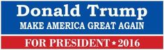 """DONALD TRUMP for President 2016  """"Make America Great Again"""" #Unbranded"""