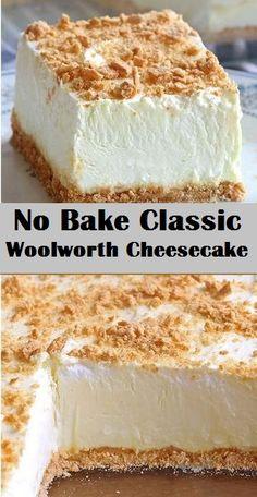 No Bake Classic Woolworth Cheesecake kuchen ostern rezepte torten cakes desserts recipes baking baking baking Brownie Desserts, Cheesecake Desserts, No Bake Desserts, Easy Desserts, Delicious Desserts, Yummy Food, Woolworth Cheesecake Recipe, Homemade Cheesecake, 9 X 13 Cheesecake Recipe
