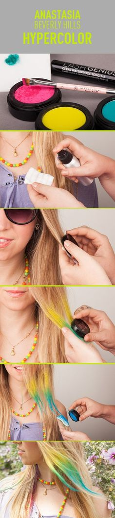 Using makeup to color your hair- So cool! The possibilities are endless, and everything is temporary!
