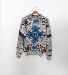 Vintage 80s Men's Women's McGregor Geometric Ski Sweater Punk Boho Hipster Medium Large Southwestern Aztec Gray Purple Hip Hop Grunge