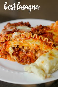 Our favorite Lasagna Recipe { lilluna.com } Beef, pork, three cheeses, and lots of seasonings make this recipe SO delicious!!