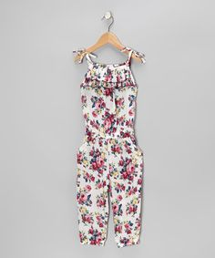 White Floral Jumpsuit - Toddler & Girls by Pretty Cute on #zulily