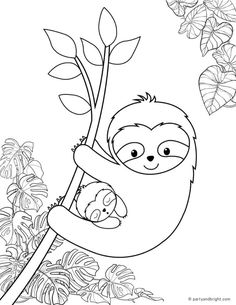 Free Kids Coloring Pages, Coloring Pages For Kids, Coloring Sheets, Baby Sloth, Cute Sloth, Elsa Birthday Party, Birthday Party Themes, Sloth Drawing, Cute Animals