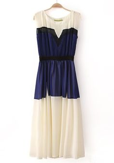 navy and white chiffon dress