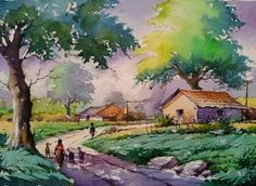 New Landscape Drawing Oil Canvases 31 Ideas Landscape Sketch, Watercolor Landscape Paintings, Landscape Drawings, Watercolor Artists, Gouache Painting, Landscape Illustration, Cool Landscapes, Landscape Art, Watercolor Sketchbook