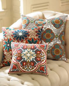 Embroidered Pillows by Jamie Young at Horchow.