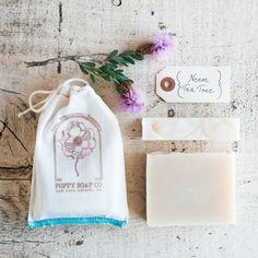 Poppy Soap Co: Organic Complexion Bar Soap, in Neem Tea Tree  -  part of the martha stewart american made collection on ebay.      lj
