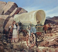 Mountain Man, Vaquera Sexy, Kinkade Paintings, Old Wagons, Into The West, West Art, Oregon Trail, Cowboy Art, Ad Art