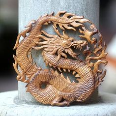 Hand Carved Suar Wood Balinese Dragon Relief Panel - Dragon of Fire   NOVICA