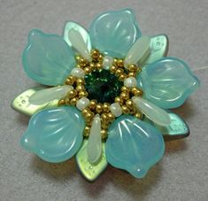 Celestial Flower pendant  Exclusively Pdf Beading by bead4me, $10.00