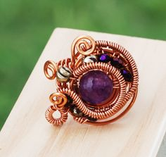 Amethyst Purple Gemstone Crystal Metal Bead Copper Wire Wrap Tour The World Ring #Jeanninehandmade #Wrap
